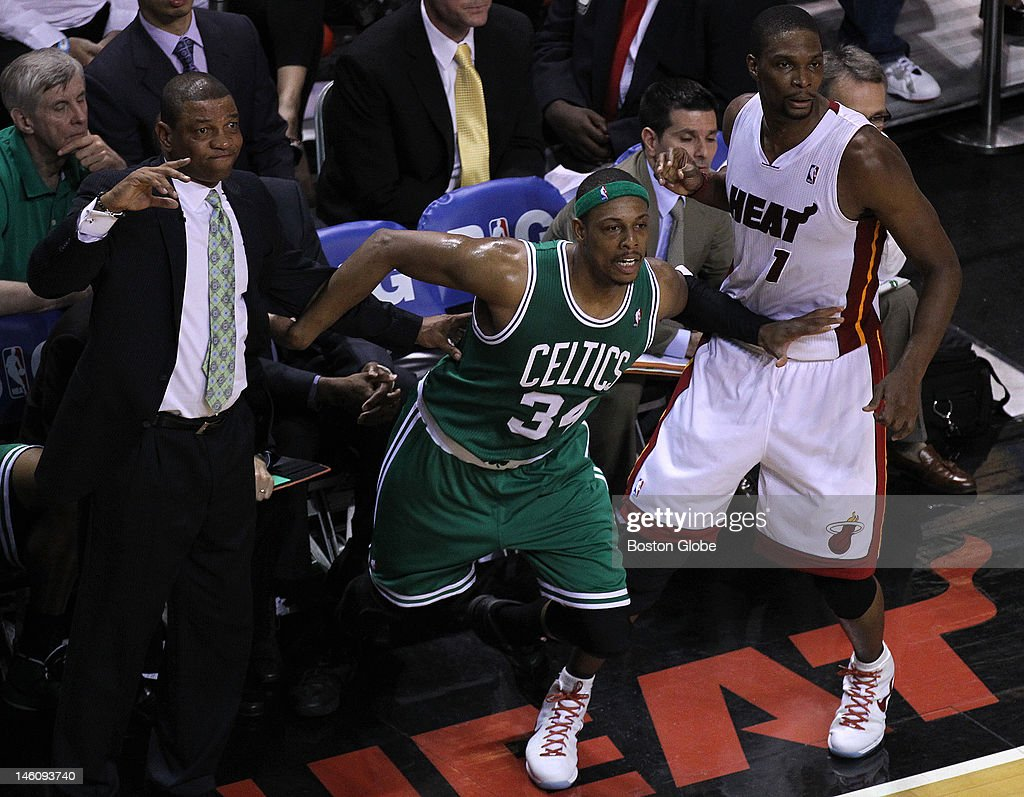Boston Celtics head coach Doc Rivers and Boston Celtics small forward Paul Pierce reacts after Pierce missed a three point attempt during the second...