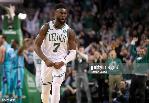 Boston Celtics' Jaylen Brown reacts after making a three point basket against the Charlotte Hornets during the fourth quarter The Boston Celtics host...