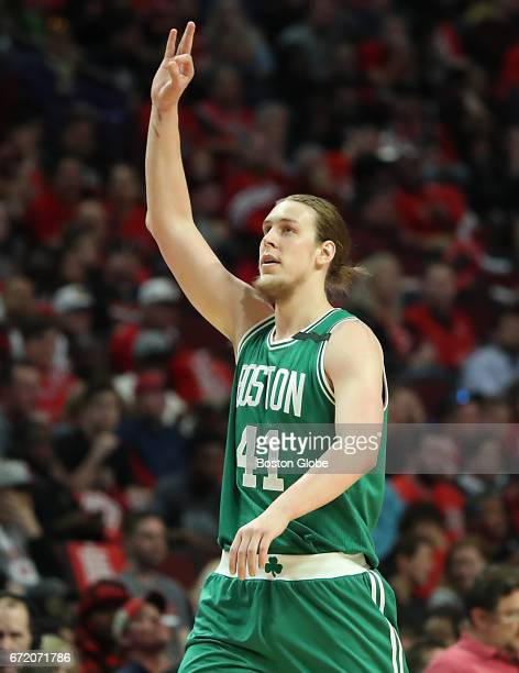 Boston Celtics' Kelly Olynyk reacts after making a 3point basket against the Chicago Bulls during the second quarter The Boston Celtics visit the...