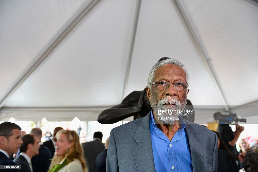 Boston Celtics Legend Bill Russell attends the statue unveiling in his honor at Boston City Hall Plaza by artist Ann Hirsch on November 1, 2013 in Boston, Massachusetts.