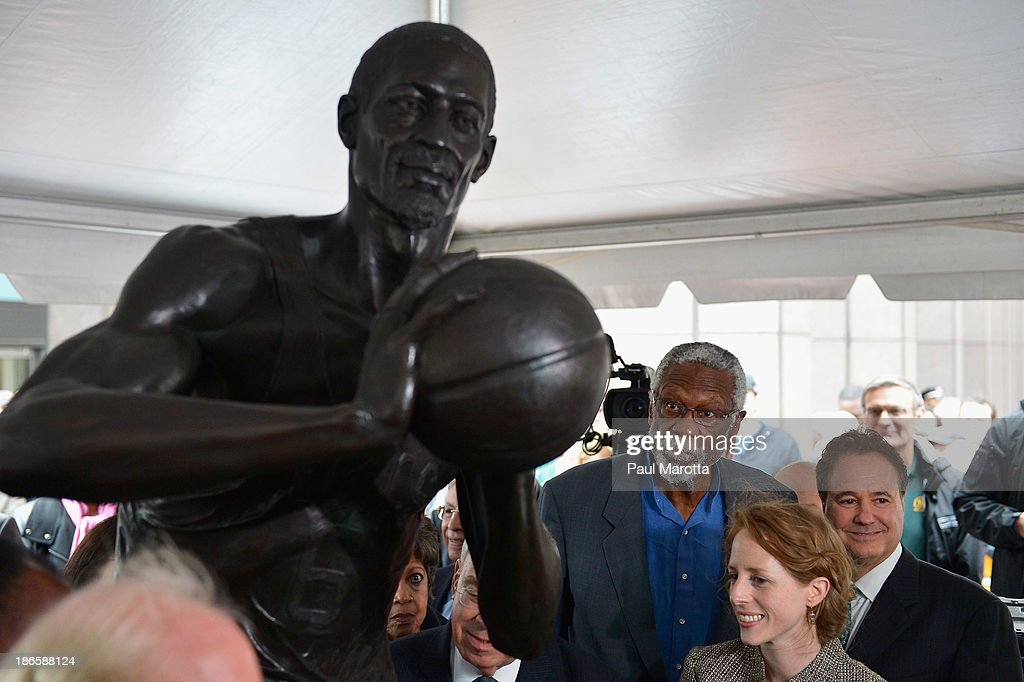 Boston Celtics legend Bill Russell attends the unveiling of the statue in his honor by artist Ann Hirsch at Boston City Hall Plaza on November 1, 2013 in Boston, Massachusetts.