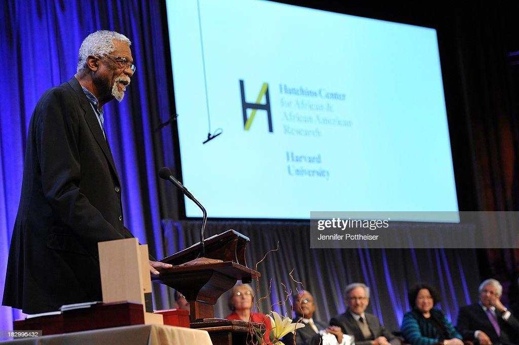 Boston Celtics legend Bill Russell presents at the 2013 W.E.B. Du Bois Medal at a ceremony at Harvard University's Sanders Theatre on October 2, 2013 in Cambridge, Massachusetts.