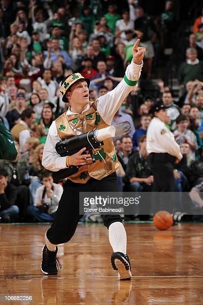 Boston Celtics' Lucky the Leprechaun performs during a game against the Chicago Bulls on November 5 2010 at the TD Garden in Boston Massachusetts...
