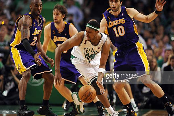 Boston Celtics' Paul Pierce controls the ball in front of Los Angeles Lakers' Kobe Bryant Pau Gasol and Vladimir Radmanovic during Game 6 of the 2008...