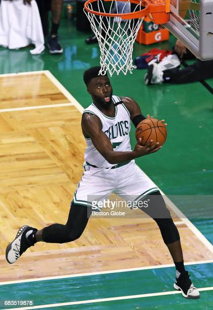 Boston Celtics player Jaylan Brown leaves Washington Wizards player Marcin Gortat in the dust as he sails in for two points in the third quarter The...
