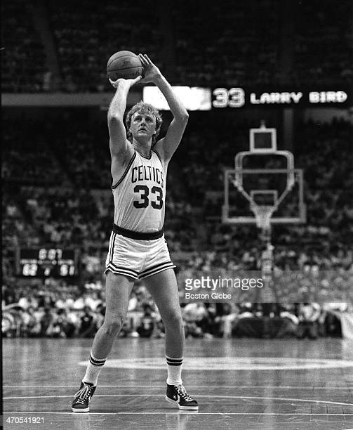 Boston Celtics player Larry Bird at the free throw line takes aim in the second quarter against the Los Angeles Lakers at Boston Garden on May 27 1984
