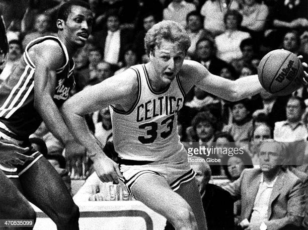 Boston Celtics player Larry Bird in second period action at Boston Garden against the Kansas City Kings on March 1 1983