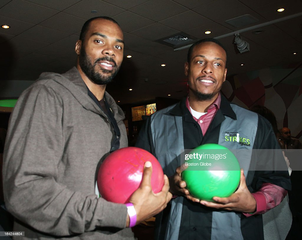 Boston Celtics players Chris Wilcox, left, and Paul Pierce get ready to bowl and Kings Dedham for Pierce's Truth Strikes Again celebrity bowling tournament to benefit his campaign to fight child obesity.