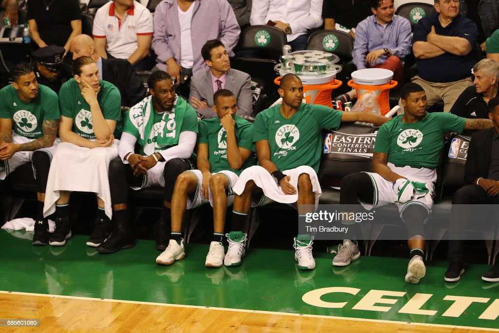 Boston Celtics players including Kelly Olynyk #41, Jae Crowder #99, Avery Bradley #0, Al Horford #42 and Marcus Smart #36 react on the bench during the fourth quarter against the Cleveland Cavaliers in Game Two of the 2017 NBA Eastern Conference Finals at TD Garden on May 19, 2017 in Boston, Massachusetts.