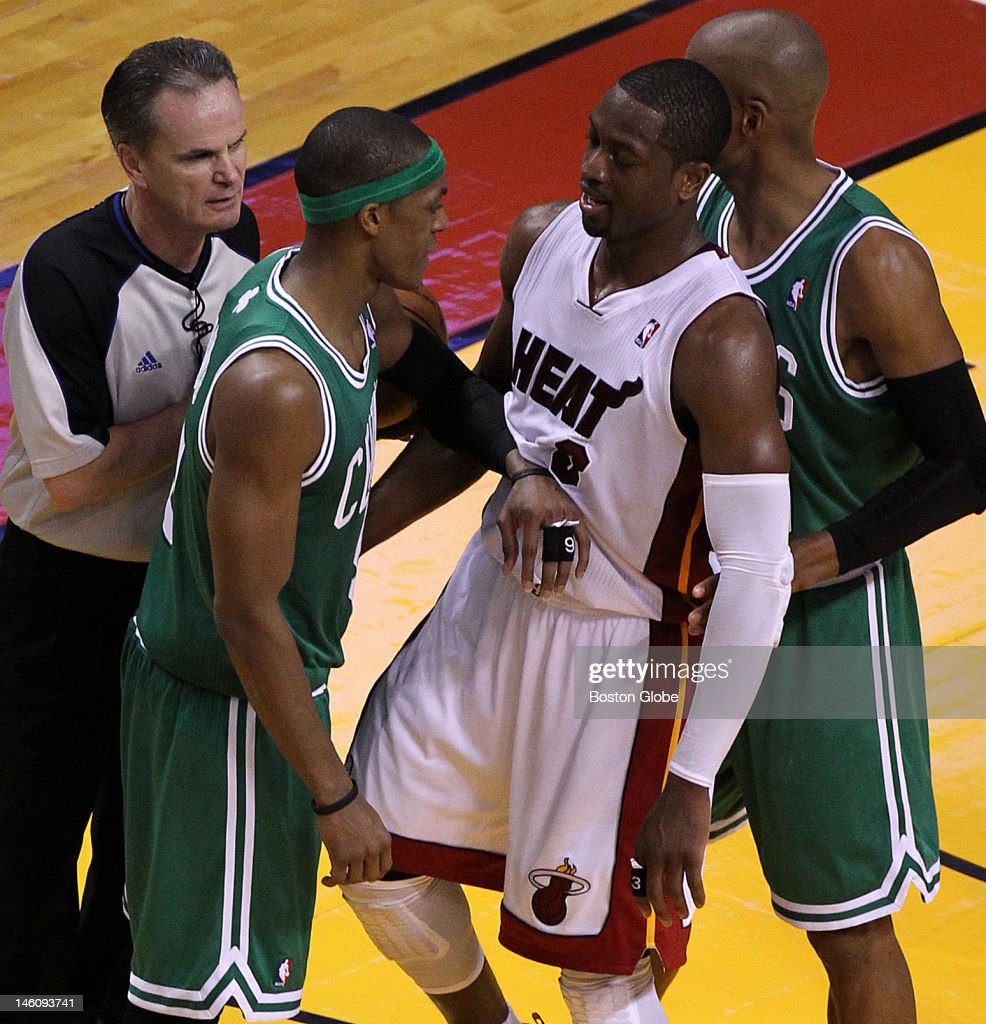 Boston Celtics point guard Rajon Rondo and Miami Heat shooting guard Dwyane Wade received matching technicals as they engaged in some talking and...