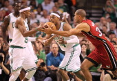 Boston Celtics point guard Rajon Rondo and small forward Paul Pierce in action during the first quarter Boston Celtics NBA basketball action and...