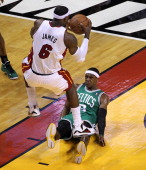 Boston Celtics point guard Rajon Rondo commits his second foul in the first quarter as he fouls Miami Heat small forward LeBron James Boston Celtics...