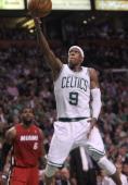 Boston Celtics point guard Rajon Rondo takes a shot in the second quarter Boston Celtics NBA basketball action and reaction The Celtics play the...