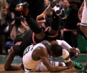 Boston Celtics point guard Rajon Rondo took a knee to the head from Chicago Bulls small forward Jimmy Butler during overtime as the Boston Celtics...