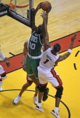 Boston Celtics power forward Brandon Bass puts back a rebound to bring the Celtics within two points late in the second quarter Boston Celtics NBA...