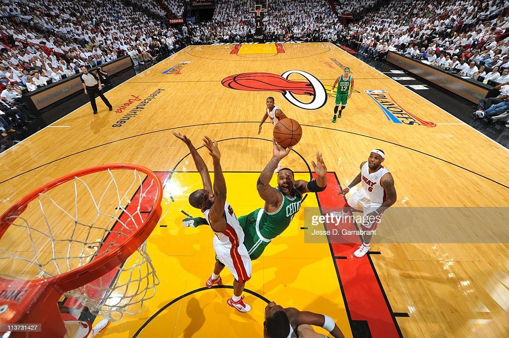 Boston Celtics power forward <a gi-track='captionPersonalityLinkClicked' href=/galleries/search?phrase=Glen+Davis+-+Basketball+Player&family=editorial&specificpeople=709385 ng-click='$event.stopPropagation()'>Glen Davis</a> #11 goes to the basket during Game Two of the Eastern Conference Semifinals against the Miami Heat in the 2011 NBA Playoffs on May 3, 2011 at the American Airlines Arena in Miami, Florida. The Heat won 102-91.