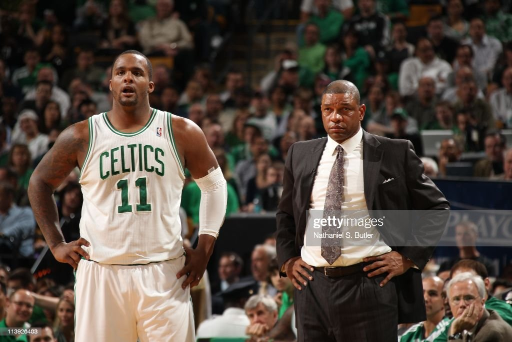 Boston Celtics power forward <a gi-track='captionPersonalityLinkClicked' href=/galleries/search?phrase=Glen+Davis+-+Basketball+Player&family=editorial&specificpeople=709385 ng-click='$event.stopPropagation()'>Glen Davis</a> #11 looks on with Boston Celtics head coach <a gi-track='captionPersonalityLinkClicked' href=/galleries/search?phrase=Doc+Rivers&family=editorial&specificpeople=206225 ng-click='$event.stopPropagation()'>Doc Rivers</a> during the game against the Miami Heat during Game Four of the Eastern Conference Semifinals in the 2011 NBA Playoffs on May 9, 2011 at the TD Garden in Boston, Massachusetts. The Heat won 98-90.