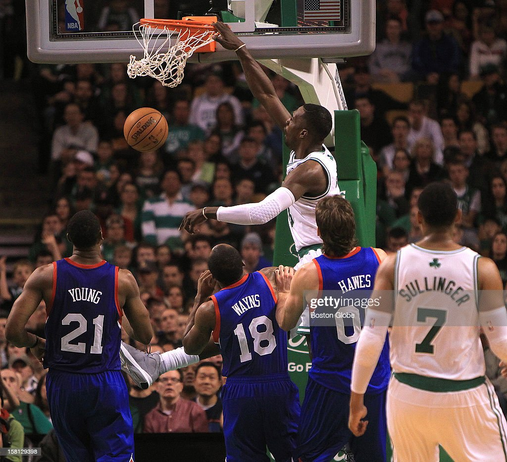 Boston Celtics power forward Jeff Green (#8) slams down a dunk to make it 81-63 in the fourth quarter as the Celtics play the Philadelphia 76ers at TD Garden.
