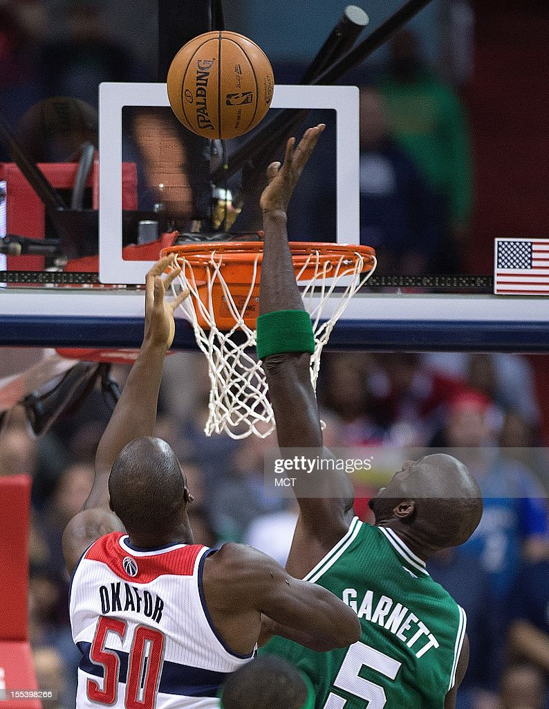 Boston Celtics power forward Kevin Garnett (5) blocks the shot of Washington Wizards center Emeka Okafor (50) during the first half of their game played at the Verizon Center in Washington, D.C., Saturday, November 3, 2012.