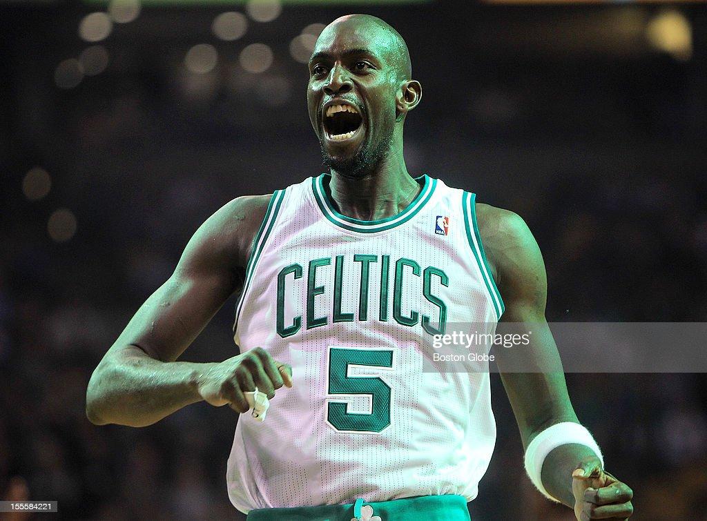 Boston Celtics power forward Kevin Garnett (#5) goes through his usual pre game scream at the start of tonight's season home opener against the the Milwaukee Bucks at TD Garden.