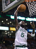 Boston Celtics power forward Kevin Garnett goes up for a shot in the second quarter as the Boston Celtics play the Los Angeles Lakers at TD Garden