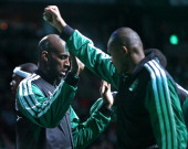 Boston Celtics power forward Kevin Garnett is greeted with high five's as he is introduced during the pregame ceremonies before the Boston Celtics...