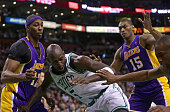 Boston Celtics power forward Kevin Garnett lost the ball on this play but got the foul call that put him at the free throw line in the second quarter...