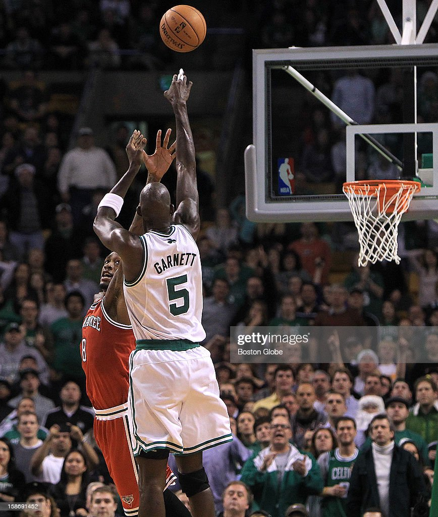 Boston Celtics power forward Kevin Garnett (#5) shot with 36.1 left on the clock and tied the score at 94 but the Celtics would score no more as they fell to the Milwaukee Bucks at TD Garden.