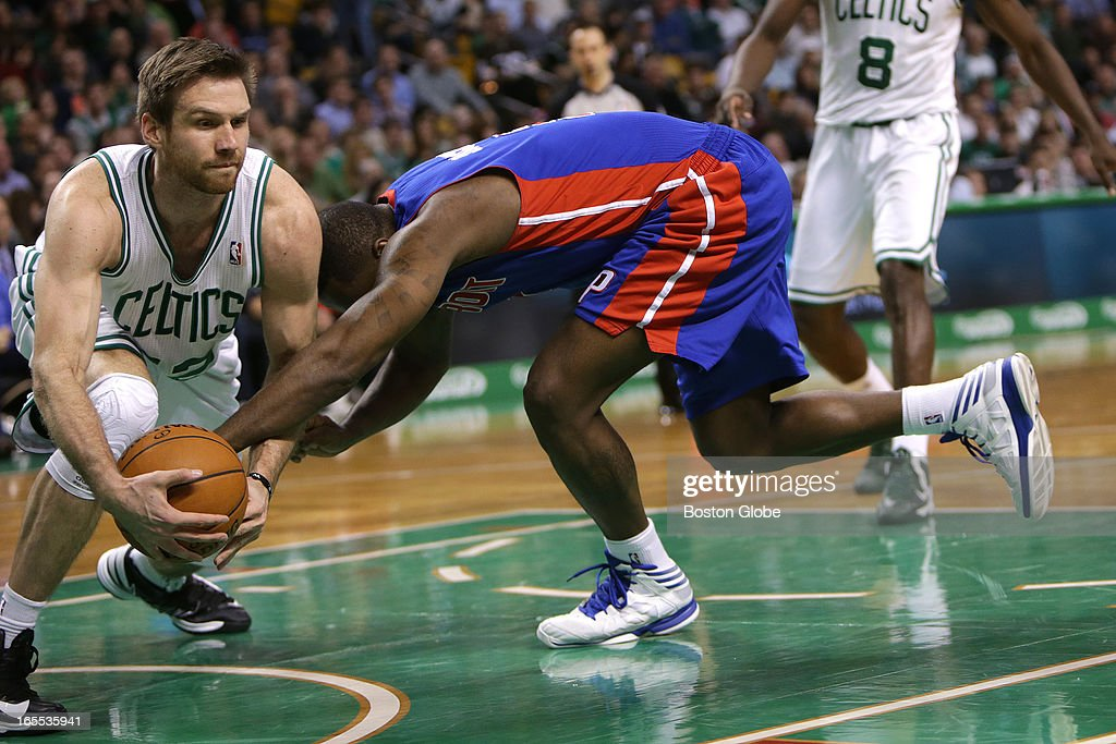 Boston Celtics power forward Shavlik Randolph (#42) tries to corral a loose ball during the second half. Celtics NBA basketball, action and reaction. The Celtics play the Detroit Pistons at TD Garden.