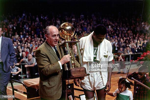 Boston Celtics president Red Auerbach poses for a 1967 photo at the Boston Garden in Boston Massachusetts NOTE TO USER User expressly acknowledges...
