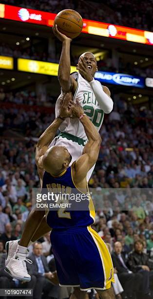 Boston Celtics Ray Allen charges Los Angeles Lakers Derek Fisher during game three of the NBA Finals on June 8 2010 in Boston Kobe Bryant scored 29...