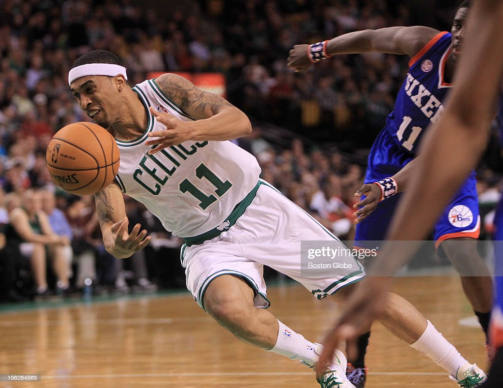 Boston Celtics shooting guard Courtney Lee (#11) loses control of the ball as he drives to the basket during the first quarter as the Celtics play the Philadelphia 76ers at TD Garden.