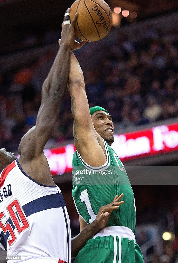 Boston Celtics shooting guard Courtney Lee (11) shot is blocked by Washington Wizards center Emeka Okafor (50) during the first half of their game played at the Verizon Center in Washington, D.C., Saturday, November 3, 2012.