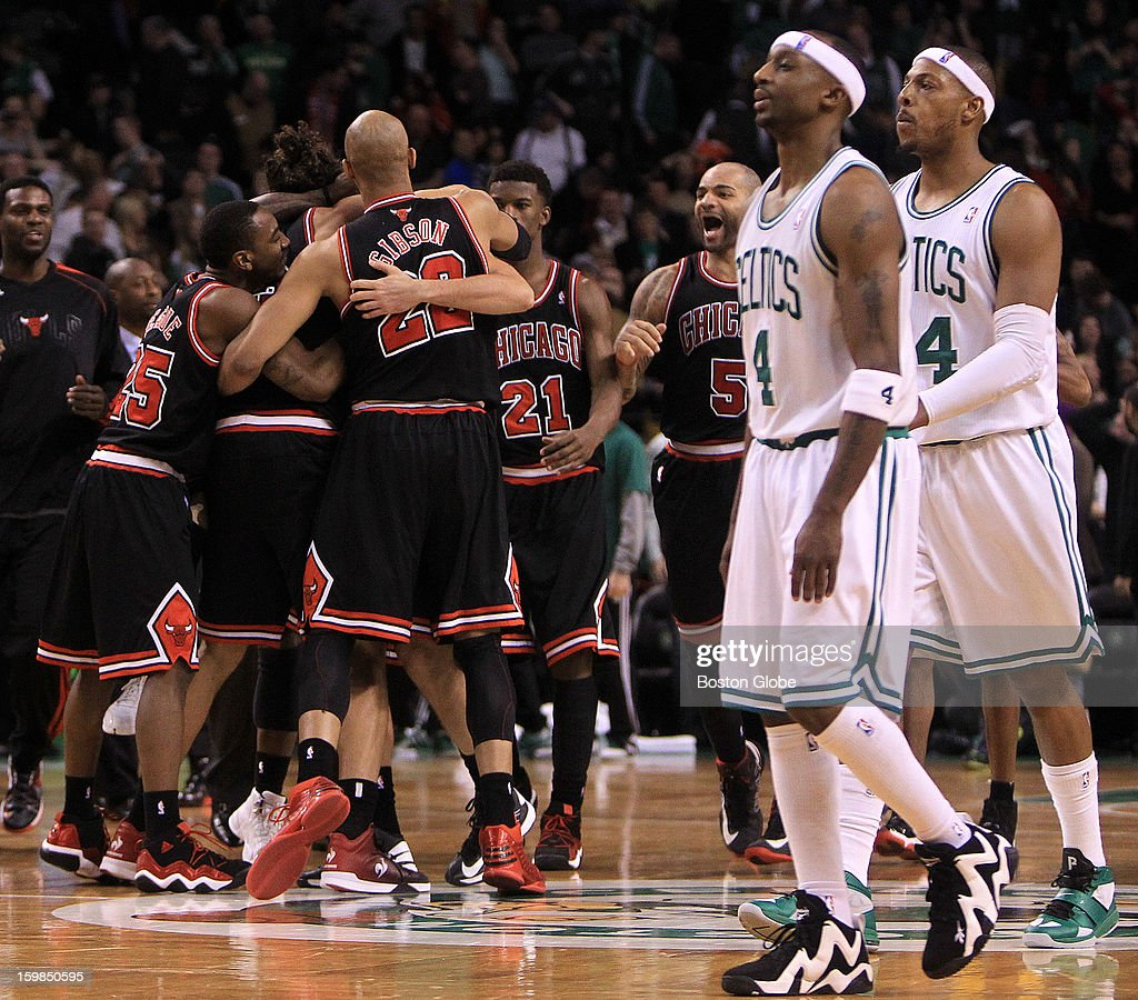 Boston Celtics shooting guard Jason Terry (#4) and Boston Celtics small forward Paul Pierce (#34) walk off the court after the Celtics fell 100-99 in overtime to the Chicago Bulls. The Boston Celtics hosted the Chicago Bulls at TD Garden.