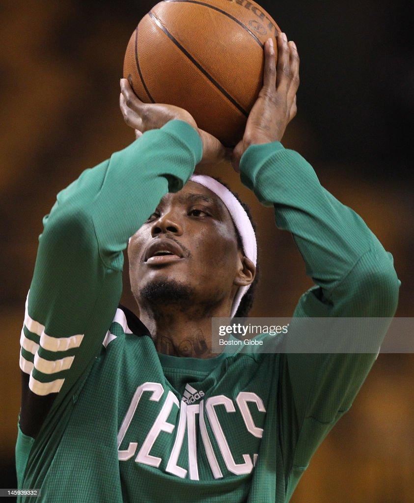 Boston Celtics shooting guard Marquis Daniels during pregame warmups Boston Celtics NBA basketball action and reaction The Celtics play the Miami...