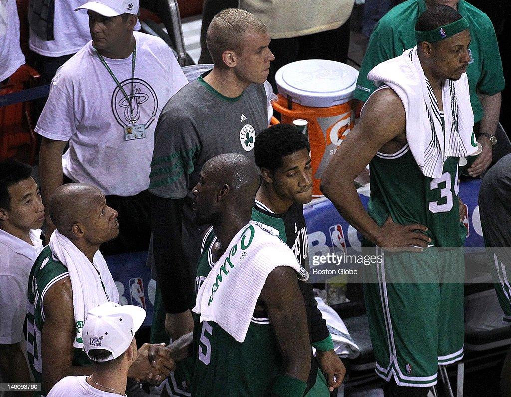 Boston Celtics shooting guard Ray Allen Boston Celtics power forward Kevin Garnett and Boston Celtics small forward Paul Pierce come out of the game...