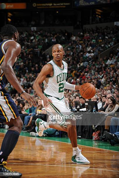 Boston Celtics shooting guard Ray Allen drives to the basket during the game against the Utah Jazz on January 21 2011 at the TD Garden in Boston...