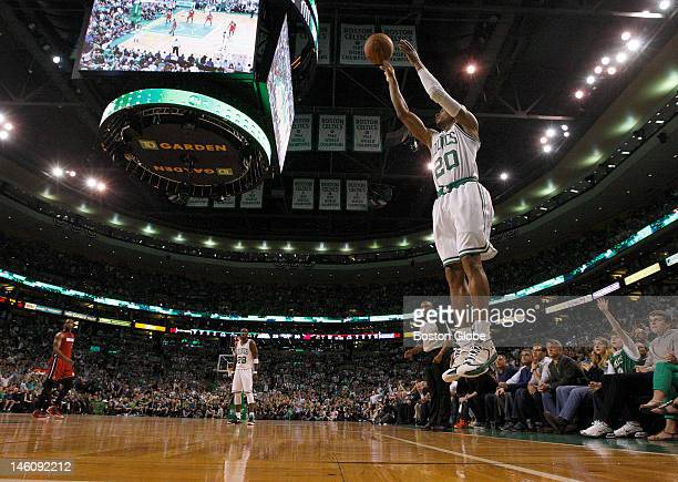 Boston Celtics shooting guard Ray Allen elevates for a three pointer in the second quarter Game six may be the last time Boston Celtics fans will see...