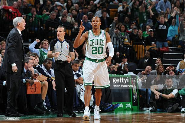 Boston Celtics shooting guard Ray Allen gestures during the game against the Utah Jazz on January 21 2011 at the TD Garden in Boston Massachusetts...