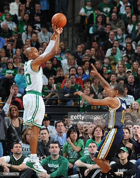 Boston Celtics shooting guard Ray Allen goes for a jump shot during the game against the Utah Jazz on January 21 2011 at the TD Garden in Boston...
