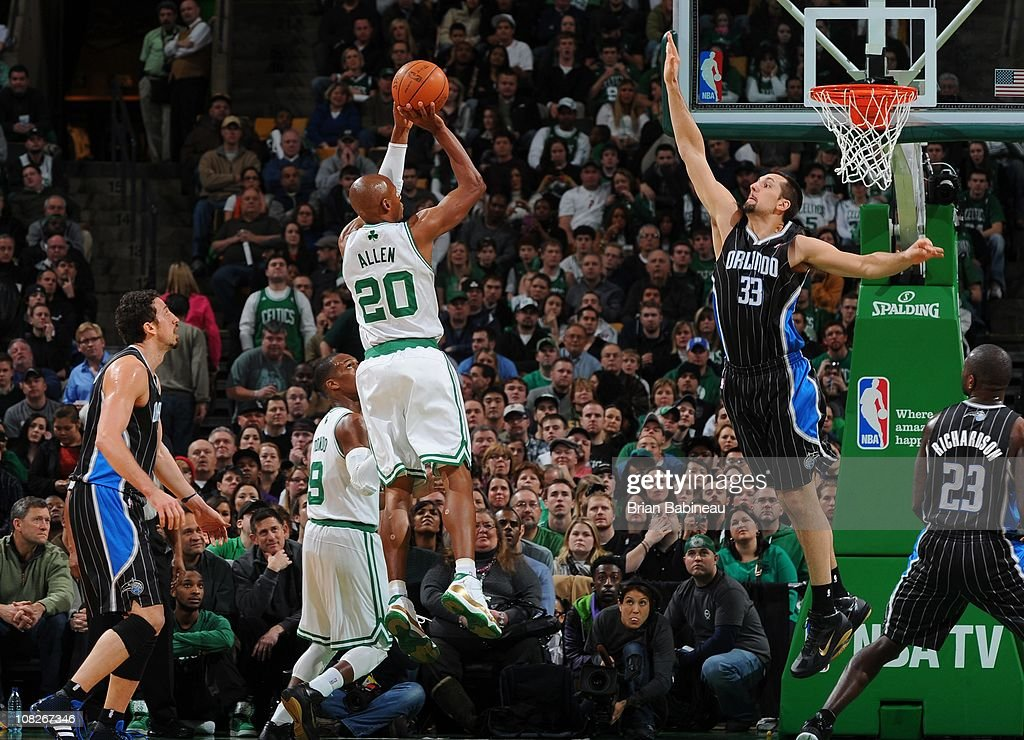 Boston Celtics shooting guard Ray Allen goes to the basket against Orlando Magic power forward Ryan Anderson on January 17 2011 at the TD Garden in...