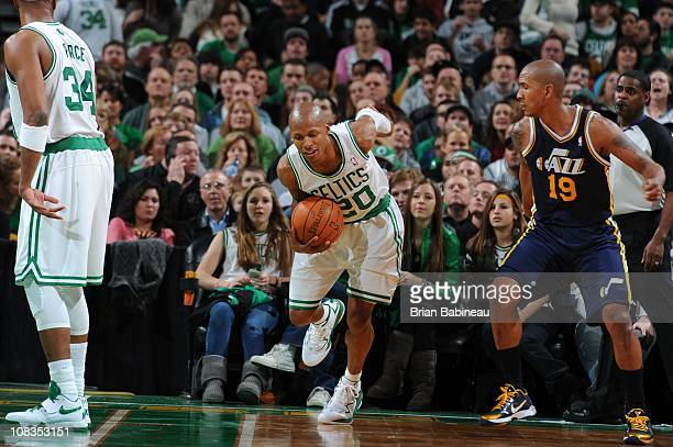 Boston Celtics shooting guard Ray Allen protects the ball during the game against the Utah Jazz on January 21 2011 at the TD Garden in Boston...