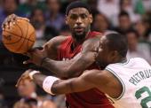 Boston Celtics small forward Mickael Pietrus guards Miami Heat small forward LeBron James in the second quarter Boston Celtics NBA basketball action...