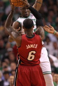 Boston Celtics small forward Mickael Pietrus tries to block Miami Heat small forward LeBron James in the second quarter Boston Celtics NBA basketball...