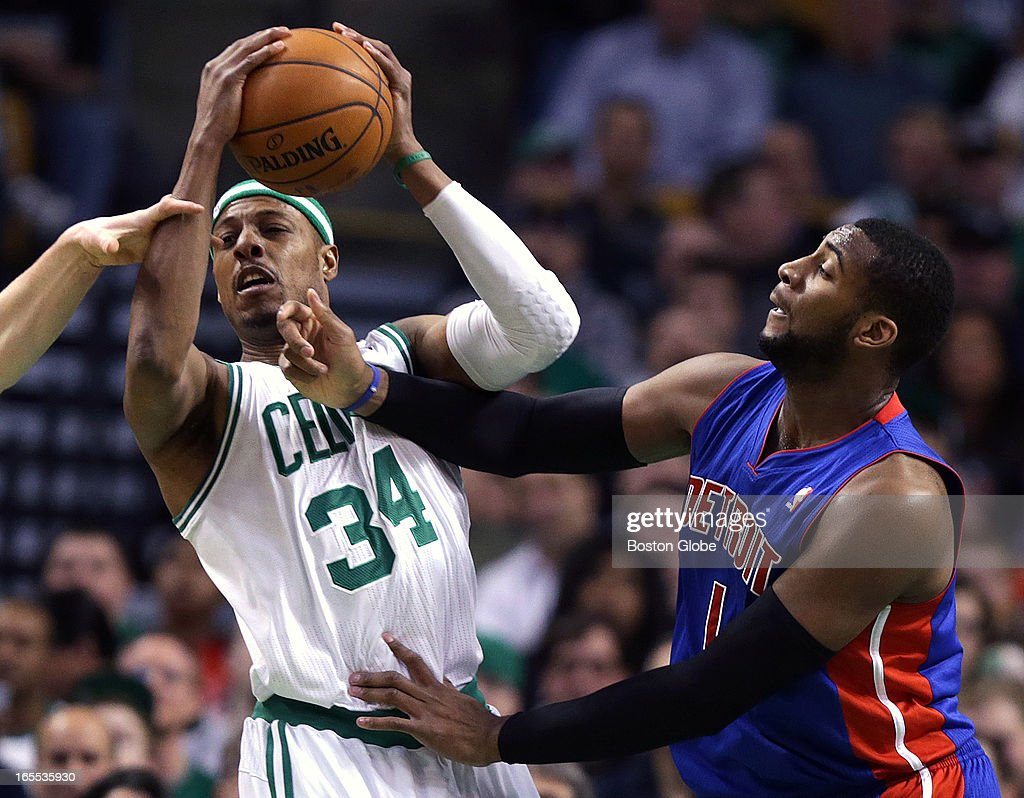 Boston Celtics small forward Paul Pierce (#34) battles for a rebound with Detroit Pistons center Andre Drummond (#1) during the first half. Celtics NBA basketball, action and reaction. The Celtics play the Detroit Pistons at TD Garden.