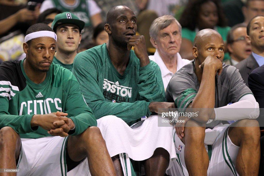 Boston Celtics small forward Paul Pierce Boston Celtics power forward Kevin Garnett and Boston Celtics shooting guard Ray Allen take an early seat...