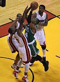 Boston Celtics small forward Paul Pierce faces triple coverage as he tries to penetrate the Miami Heat defense Boston Celtics NBA basketball action...