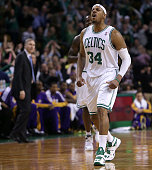 Boston Celtics small forward Paul Pierce lets out a howl as he celebrates after draining a three to give the Celtics a 9569 lead with 406 left to...