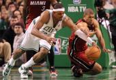 Boston Celtics small forward Paul Pierce looses the ball as Miami Heat small forward Shane Battier knocked it away but a jump ball was called Boston...