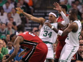 Boston Celtics small forward Paul Pierce reacts to Miami Heat small forward LeBron James in the first quarter Boston Celtics NBA basketball action...